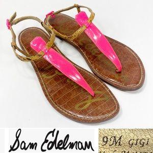 Sam Edelman Gigi Size 9 Thong Sandal Pink & Cork Toe Post Flat w Ankle Strap
